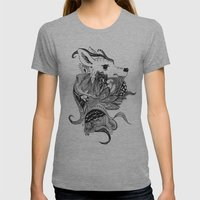 Inking Deer Womens Fitted Tee Athletic Grey SMALL