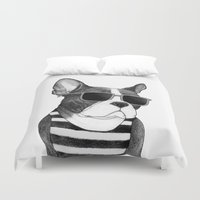 Frenchie Summer Style b&w Duvet Cover