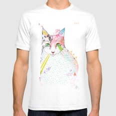 Cat / March White SMALL Mens Fitted Tee