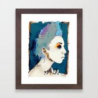 The Sharkfin Hair Lady Framed Art Print