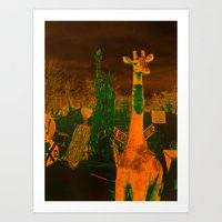 What in the giraffe Art Print