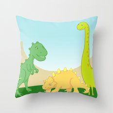 Friendly dinosaurs Throw Pillow