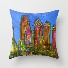 Philly Neon Skyline Throw Pillow