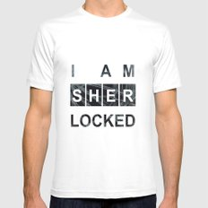 SHERLOCK I am Sherlocked Print SMALL White Mens Fitted Tee