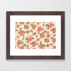 Shabby chic rose background Framed Art Print