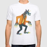 Unicorn Werewolf Mens Fitted Tee Ash Grey SMALL
