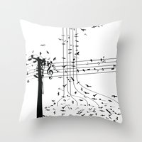 Morning song birds Throw Pillow