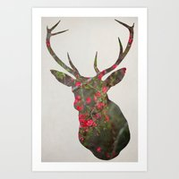 Deer With Quince Art Print