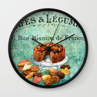 Wall Clock featuring Sweets Vintage Poster 02 by Aloke Design