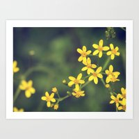 yellow bursts Art Print