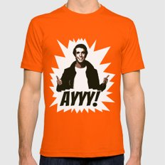 HAPPY DAYS  |  FONZIE  |  AYYY! Mens Fitted Tee Orange SMALL
