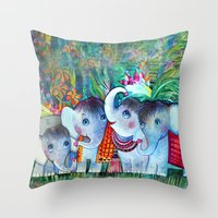 4 Baby Elephants - Water… Throw Pillow