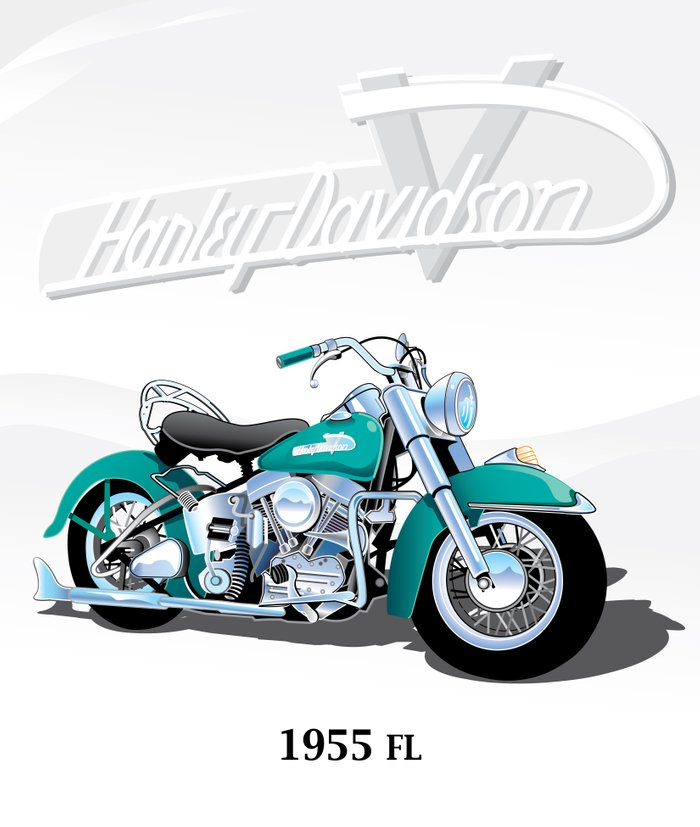 1955 Harley Davidson Motorcycle Art Print by McGrathDesigns : Society6
