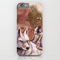 iPhone & iPod Case featuring Miyazaki's Mononoke Hime - San and the Wolf TraDigital Painting by Barrett Biggers
