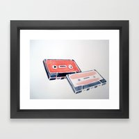 Pink cassette tapes Framed Art Print