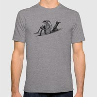 'Black Dog' (Sketch) Mens Fitted Tee Athletic Grey SMALL
