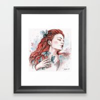 Girl With A Butterfly, W… Framed Art Print