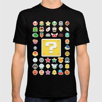 Power Ups! Mens Fitted Tee Black SMALL