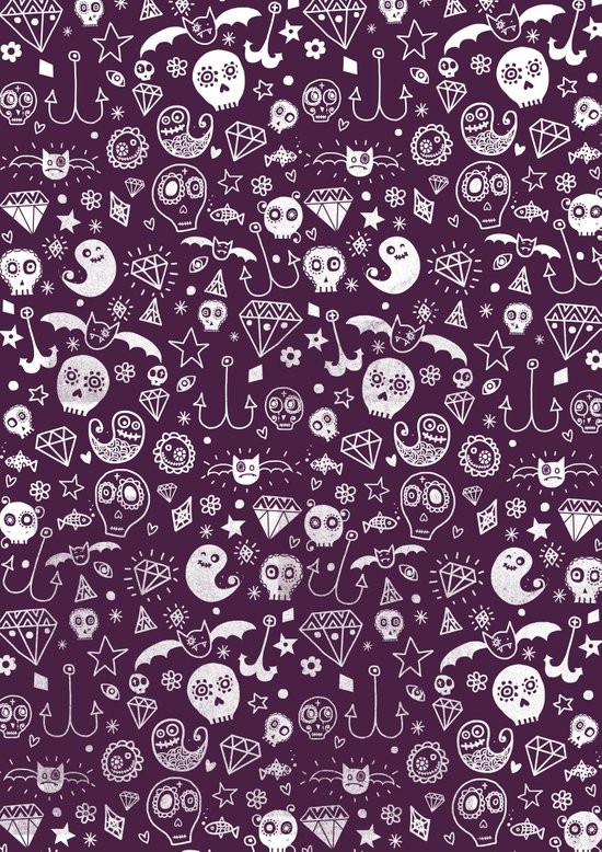 Day of the dead - Purple Canvas Print