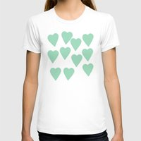 Hearts Mint Womens Fitted Tee White SMALL