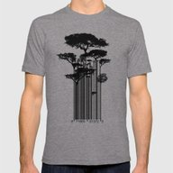 Barcode Trees Illustrati… Mens Fitted Tee Tri-Grey SMALL