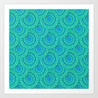 Teal Parasols Pattern Art Print
