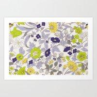 Floral Garden - Blues An… Art Print