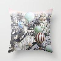Balloon travel Throw Pillow
