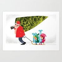 Buying The Christmas Tre… Art Print