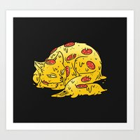 Pepperoni Pizzacat Art Print
