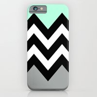 iPhone & iPod Case featuring DOUBLE COLORBLOCK CHEVRON {MINT/BLACK/GRAY} by natalie sales