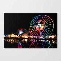 Paradise Pier at Night Canvas Print
