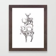 A Pile Of Stags Framed Art Print