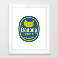 Banana Sticker On White Framed Art Print