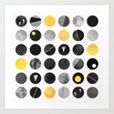 Dots / Yellow & Black Art Print