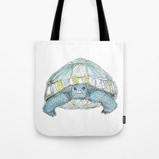 Turquoise Tortoise Illustration Tote Bag