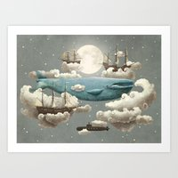 ocean Art Prints featuring Ocean Meets Sky by Terry Fan