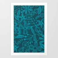 wild and natural - turquoise Art Print