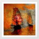 melancholic boats Art Print