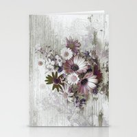Daisies on Worn Wood Stationery Cards