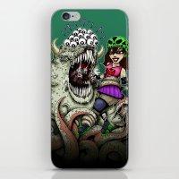 Roller Derby Girl Fighting Monster iPhone & iPod Skin
