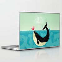 whale Laptop & iPad Skins featuring The Bird and The Whale by Oliver Lake