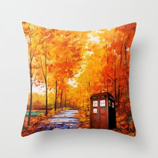 Tardis Autumn Art Painting Throw Pillow
