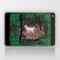 The white Deer Of Winter In Green Laptop & iPad Skin