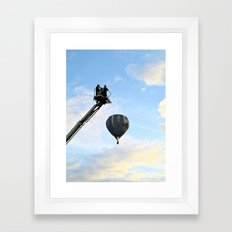 Firemen on their hoist at the Tall Ships Race Waterford 2011 Framed Art Print