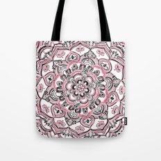 Magical Mandala in Monochrome + Pink Tote Bag