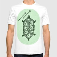 Turtle On Green Mens Fitted Tee White SMALL
