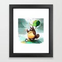 Totoro Rainbow rain Framed Art Print