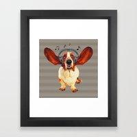 Basset Hound In Earphones Framed Art Print