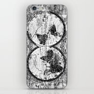 World Map Black And Whit… iPhone & iPod Skin